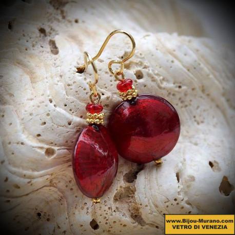 Boucles d'oreilles en verre de Murano de Venise Pastiglia rouge