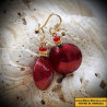 Earrings, Murano glass Venetian Pastiglia red