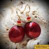 Boucles d'oreilles rouge en verre de Murano de Venise Pastiglia rouge