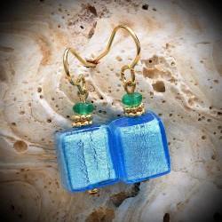 Boucles d'oreilles Bleu Aquamare or en véritable verre de Murano de Venise
