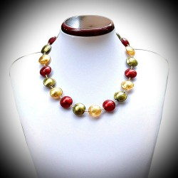 NECKLACE RED GOLD MURANO GLASS OF VENICE