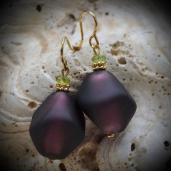 SCOGLIO SATIN EGGPLANT earrings IN REAL GLASS OF MURANO IN VENICE