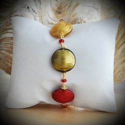RED AND GOLD BRACELET GENUINE MURANO GLASS OF VENICE