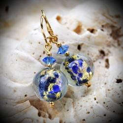 Boucles d'oreilles bleues en verre de Murano de Venise clair de lune