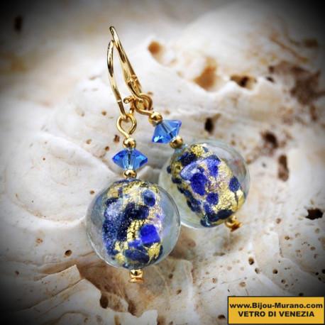 Earrings blue Murano glass of Venice clair de lune
