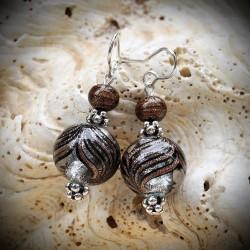 Boucles d'oreilles en véritable verre de Murano, billes dégradés Fenicio bariolés marron et argent