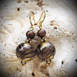 Earrings in Murano glass, beads degraded ancient phoenician port colorful maroon and gold
