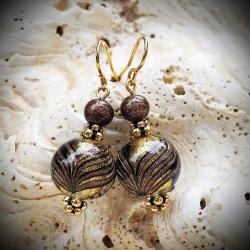 Ohrringe aus echtem Murano-glas, kugeln, verläufe Fenicio bunten braun und gold