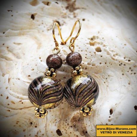 Boucles d'oreilles en véritable verre de Murano, billes dégradés Fenicio bariolés marron et or