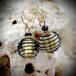 Earrings GENUINE MURANO GLASS BLACK AND GOLD OF VENICE