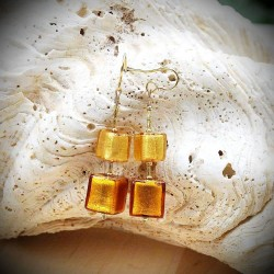 Earrings CUBIC GOLD GENUINE MURANO GLASS