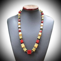 NECKLACE CUBES OF RED AND OREN GENUINE MURANO GLASS OF VENICE