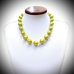 NECKLACE GREEN CLEAR GENUINE MURANO GLASS