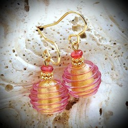 JO PINK, AND GOLD earrings IN REAL GLASS OF MURANO IN VENICE