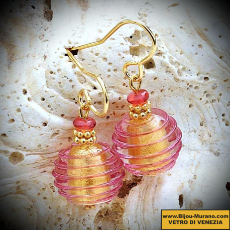 ROSE earrings IN REAL GLASS OF MURANO IN VENICE