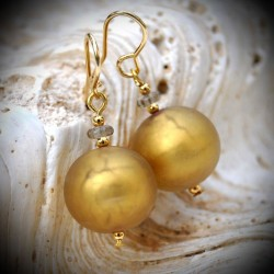 Earrings SATIN GOLD GENUINE MURANO GLASS OF VENICE