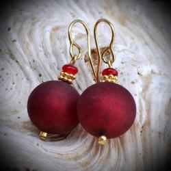 Fête des mères bijou de Murano de Venise Ball Satin Rouge