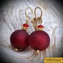 BEADS, RED SATIN earrings IN REAL GLASS OF MURANO IN VENICE