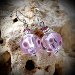 Earrings PURPLE GENUINE MURANO GLASS OF VENICE