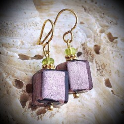 OCEAN of purple AND GOLD earrings IN REAL GLASS OF MURANO IN VENICE