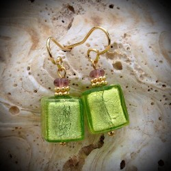 Earrings GENUINE MURANO GLASS lime GREEN OF VENICE