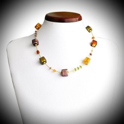 OCEAN NECKLACE AMBER GOLD AND PARMA REAL MURANO GLASS