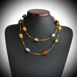 OCEAN NECKLACE LONG AMBER AND GOLD, AND PARMA REAL MURANO GLASS