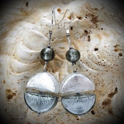 Earrings DANGLING SILVER GENUINE MURANO GLASS OF VENICE