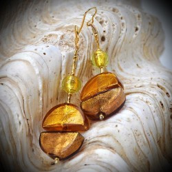 Earrings DANGLING GOLD GENUINE MURANO GLASS OF VENICE