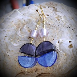 CALIFORNIA BLUE earrings IN REAL GLASS OF MURANO IN VENICE