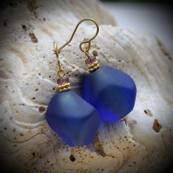 Earrings TRUE BLUE GLASS FROM MURANO IN VENICE