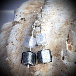 CUBI DEGRADATI SILVER earrings IN REAL GLASS OF MURANO IN VENICE