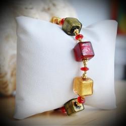 CUBI DEGRADATI RED AND GOLD BRACELET GENUINE MURANO GLASS OF VENICE
