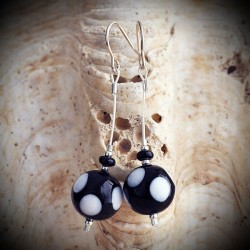 CRYSTAL polka dot BLACK/WHITE earrings IN REAL GLASS OF MURANO