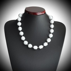 WHITE CRYSTAL NECKLACE GENUINE MURANO GLASS OF VENICE