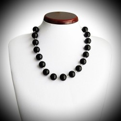 BLACK CRYSTAL NECKLACE IN GENUINE MURANO GLASS FROM VENICE