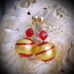 TANGO RED earrings IN REAL GLASS OF MURANO IN VENICE