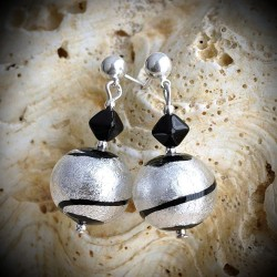 TANGO SILVER earrings IN REAL GLASS OF MURANO IN VENICE