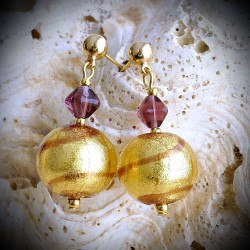 TANGO CHOCOLATE earrings IN REAL GLASS OF MURANO IN VENICE