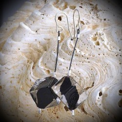 TANGO earrings, DANGLING BEADS BLACK CUBE IN GLASS OF MURANO IN VENICE