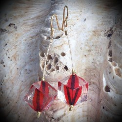 TANGO earrings DANGLING BEADS RED CUBE MURANO GLASS OF VENICE