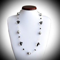 TANGO NECKLACE BEADS BLACK CUBE IN GLASS OF MURANO IN VENICE